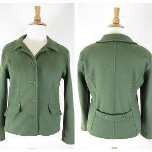 Talbots Green Alpaca Wool Blend Blazer Jacket
